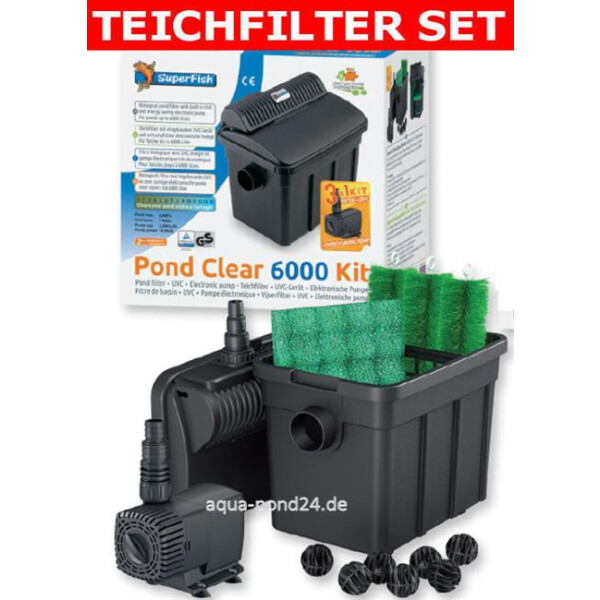 Superfish PondClear Teichfilter Set 6000 mit 7 W UVC + Pumpe 2-06020235